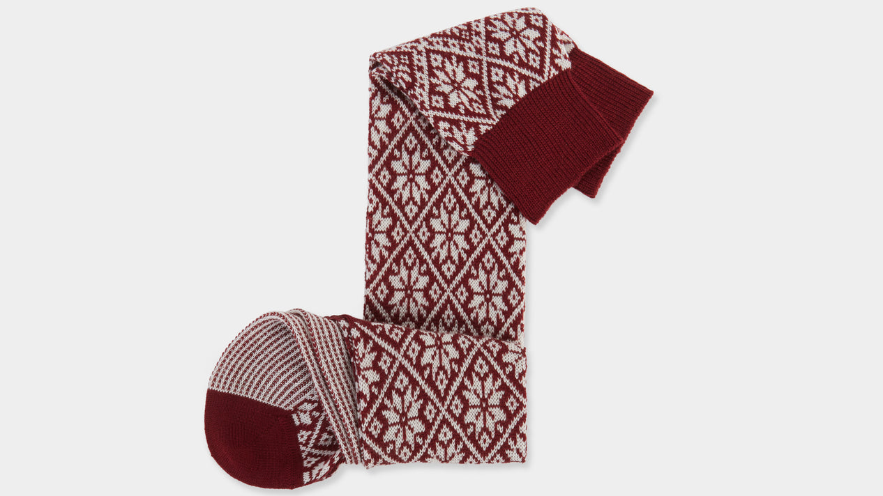 Velasca Defesta Dark red and Christmas pattern white Wool