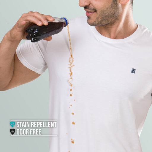 Pure White round neck t-shirt for men from turmswear
