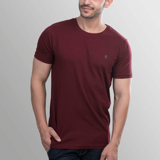 Majestic Maroon round neck t-shirt for men from turmswear