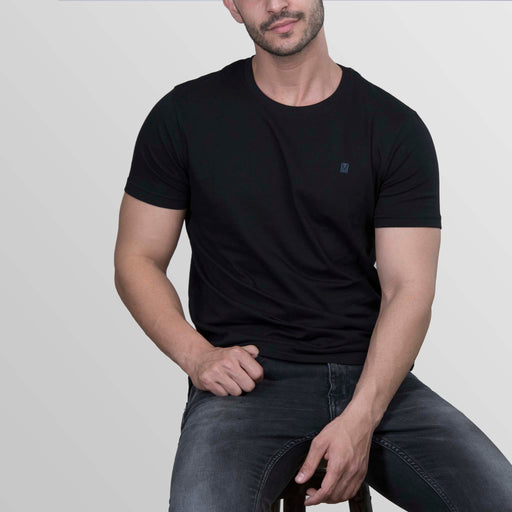 The Evergreen Black round neck t-shirt for men from turmswear