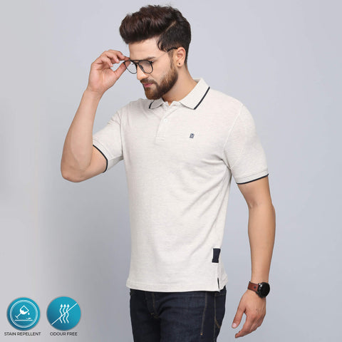 ivory ecru polo t-shirt that is stain repellent and odour free