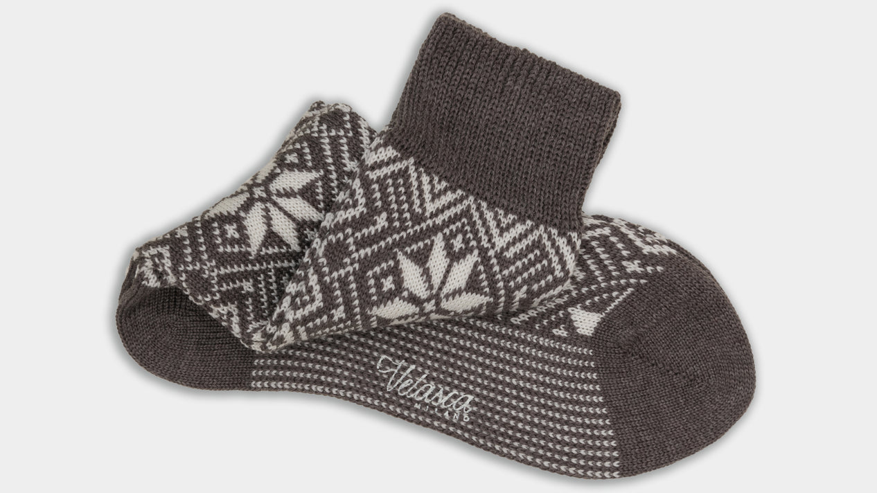 Velasca Defesta Dark grey and Christmas pattern white Wool