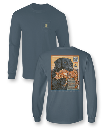 """Coon Dog"" Comfort Colors Long Sleeve Pocket Tee"