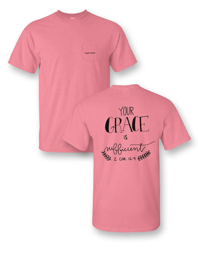 His Grace Is Sufficient Comfort Color Pocket Tee