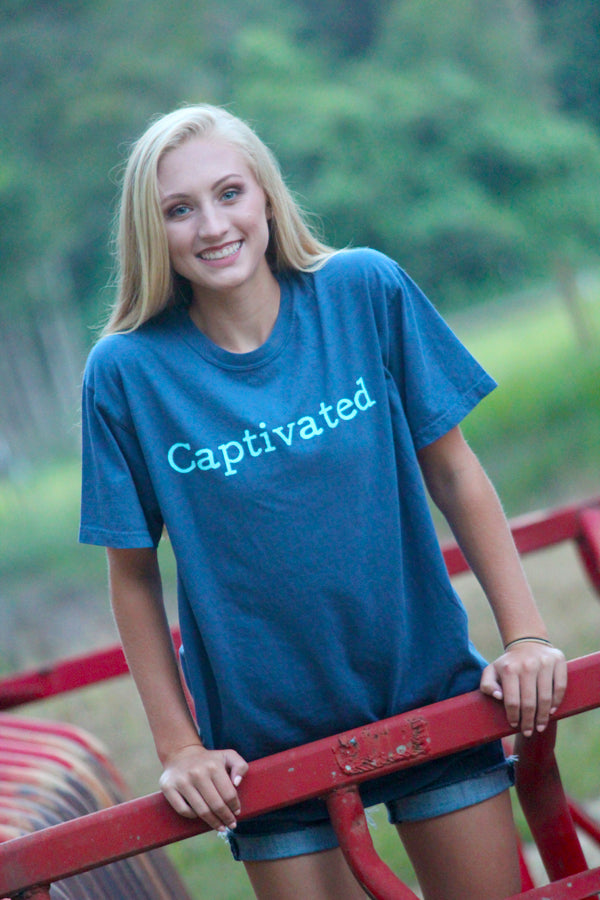 Captivated Logo Midnight Blue Comfort Colors Tee