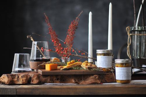 Luxury LIFE Kit: Achars + Walnut Butcher Board with Cheese Knife + Wine Glasses + Black Seed Spice