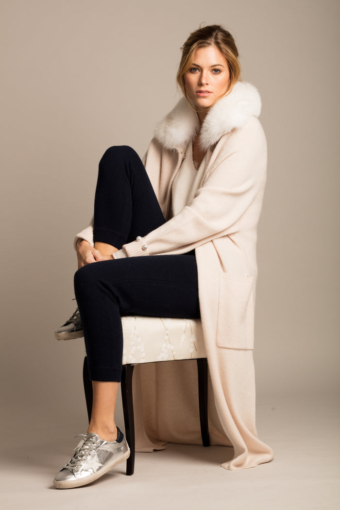 Cadogan Maxi Cardigan with Fox fur collar