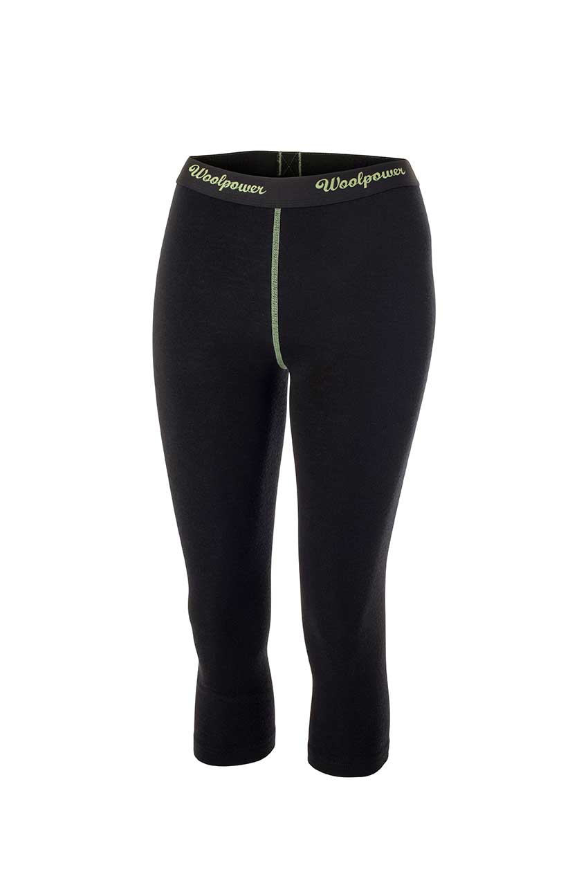 Woolpower Merino Wool LITE Women's 3/4 Long Johns - Black and Green