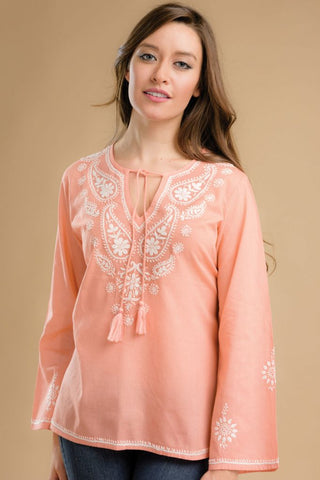 Cotton Chikankari Peach Tunic
