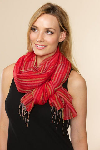 Indira Red Silk & Wool Shawl