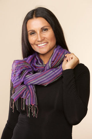 Indira Purple Silk & Wool Shawl