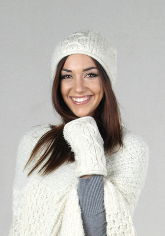 Winter Alpaca Beanie and Gloves Set