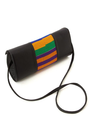 Traditional Kente Cloth and Faux Leather Barrel Purse with Strap- Green & Pink