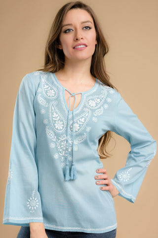 Cotton Chikankari Blue Tunic