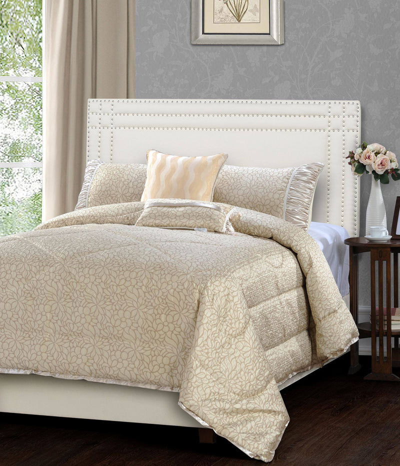Jennifer Taylor 5 Piece Comforter Set in Beige   upgrading quality.myshopify.com