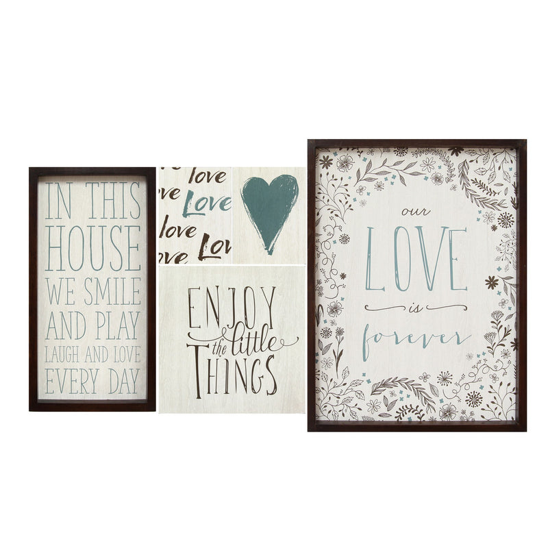 Multi Color Love is Forever Wall Art (Set of 5) by Stratton Home Decor