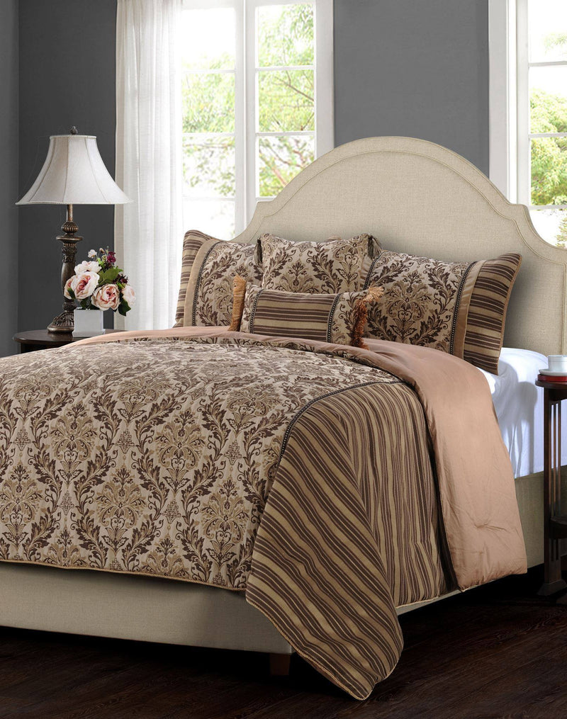 Jennifer Taylor 5 Piece Comforter Set in Brown   upgrading quality.myshopify.com
