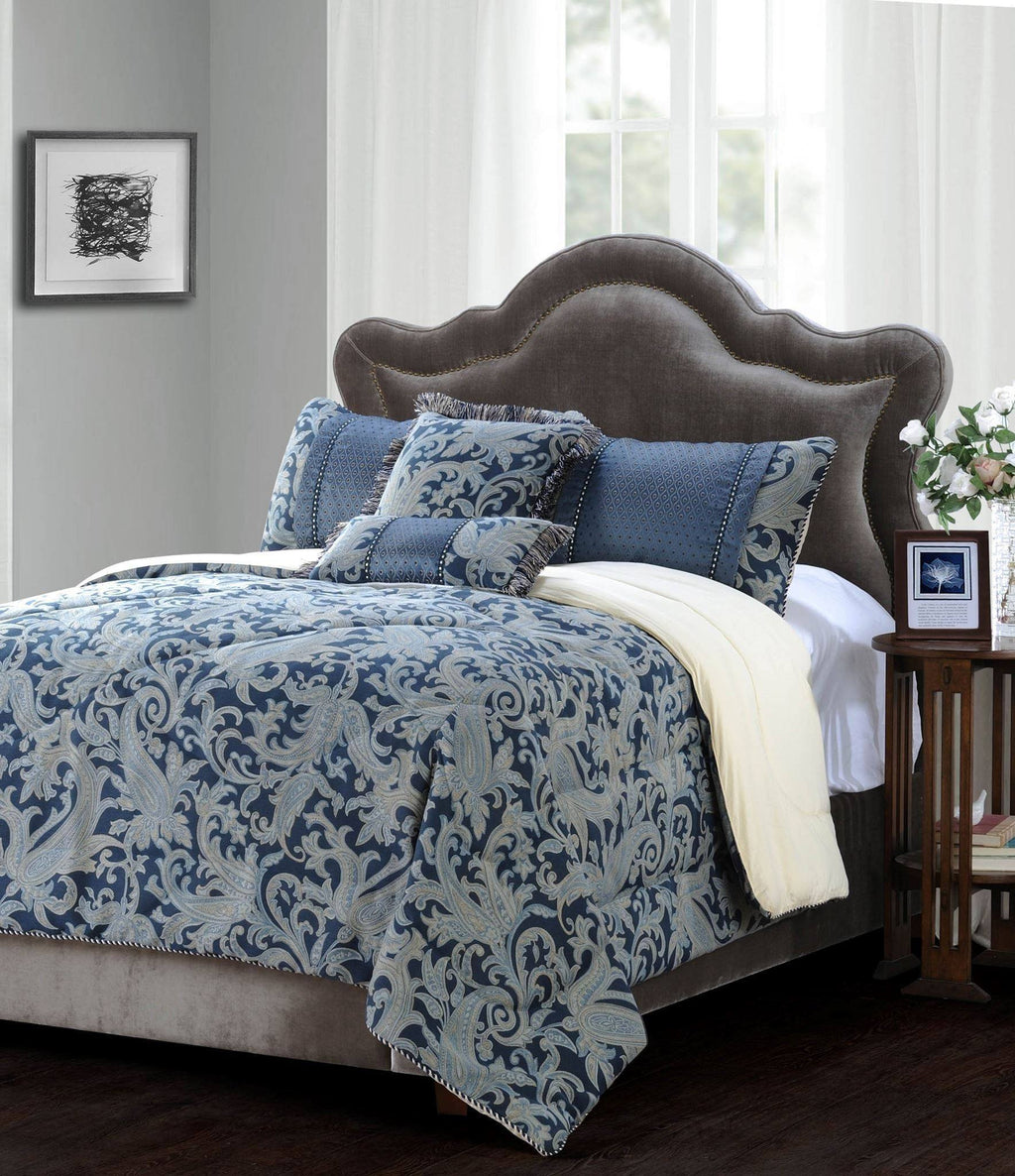 Jennifer Taylor 5 Piece Comforter Set in Blue Gold   upgrading quality.myshopify.com