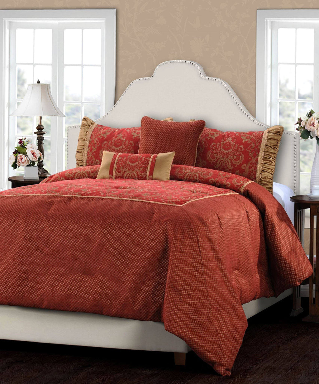 Jennifer Taylor 5 Piece Comforter Set in Red and Gold   upgrading quality.myshopify.com