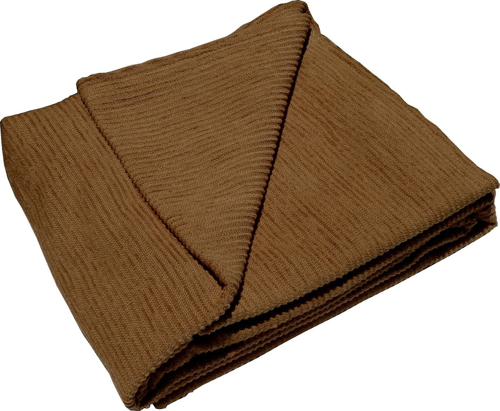 Brown Striped Chenille Toddler Blanket