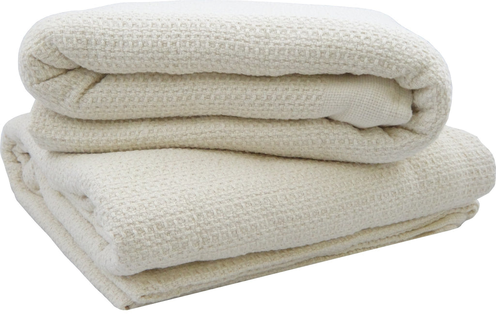 Organic Cotton Waffle Weave Natural Blanket