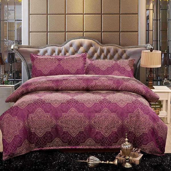 Orchid Purple Luxury Silk with Polyester Bedding Set   Upgrading Quality