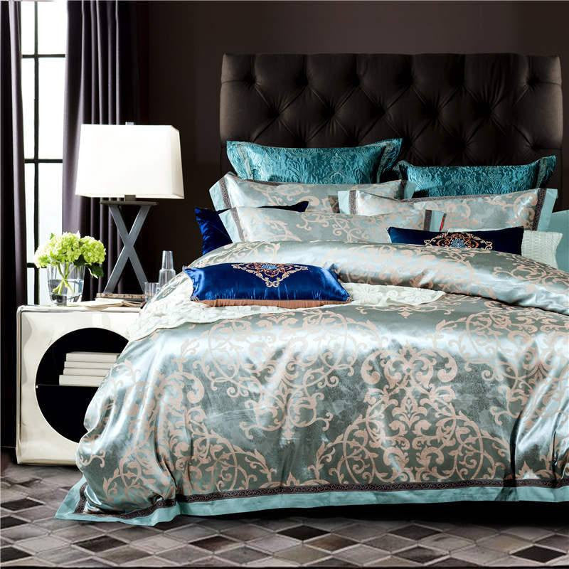 Coral Blue Luxury Silk and Cotton Bedding Set   Upgrading Quality