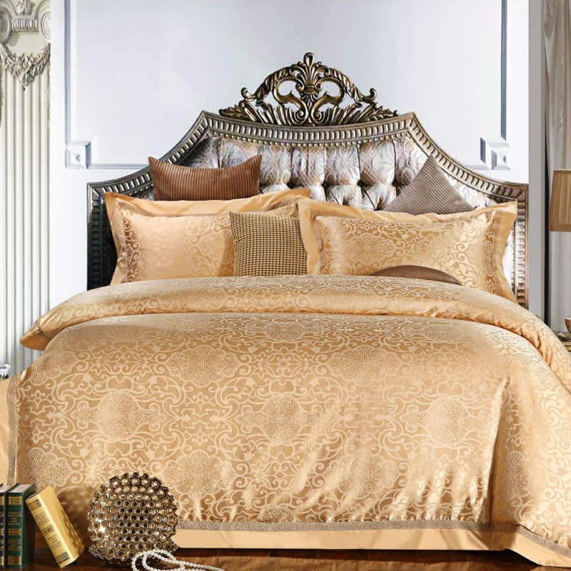 Beige Luxury Silk and Cotton Bedding Set   Upgrading Quality