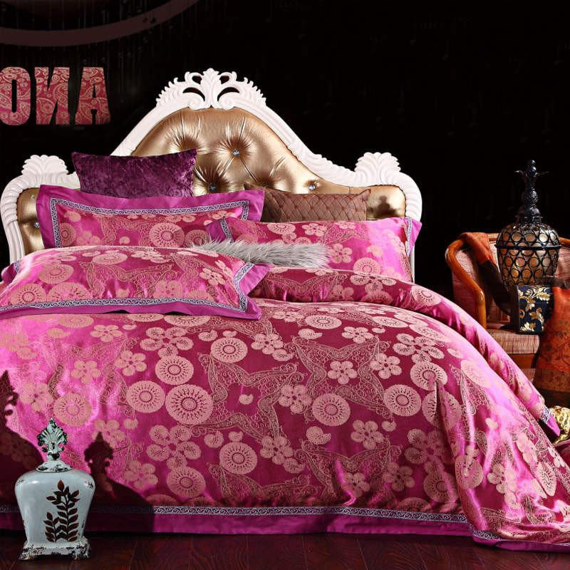 Dark Pink Flowered Luxury Silk and Cotton Bedding Set   Upgrading Quality
