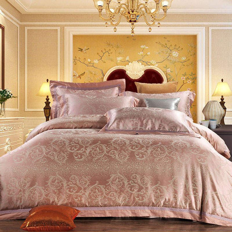Coral Luxury Silk and Cotton Bedding Set   Upgrading Quality