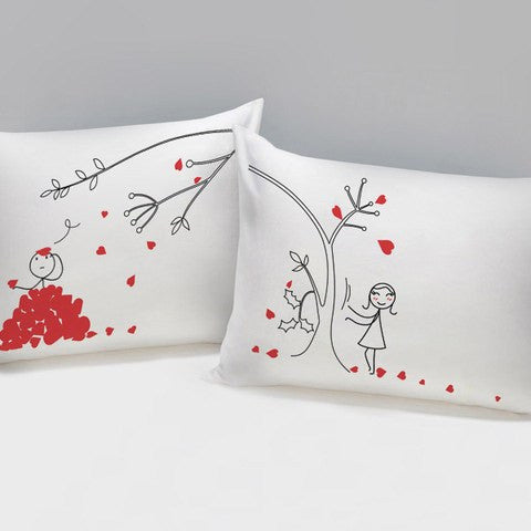 Hearts on Trees Couples Pillowcase   Upgrading Quality