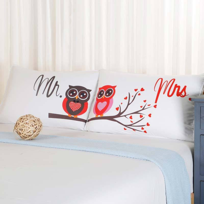 Mr & Mrs Owl Couples Pillowcase - Upgrading Quality