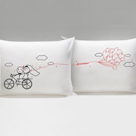 Just Married Bicycle Ride Couples Pillowcase   Upgrading Quality
