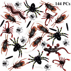 144 Fake Cockroaches, Spiders, Scorpions and Worms for Halloween Party Favors and Decoration.