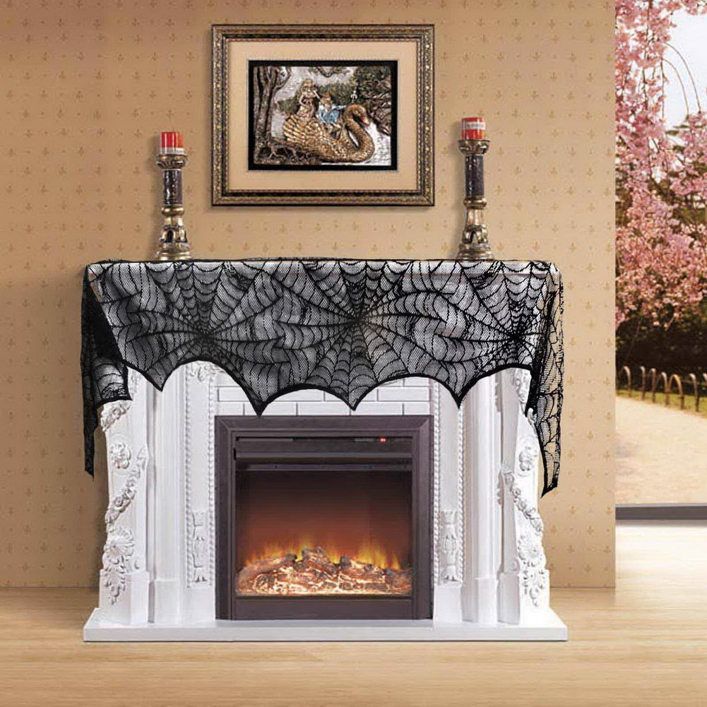 Halloween Decoration Black Lace Spiderweb Fireplace Mantle Scarf Cover 45 X 243cm