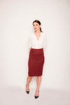 pencil skirt, midi skirt, work attire, classic skirt, silk blouse