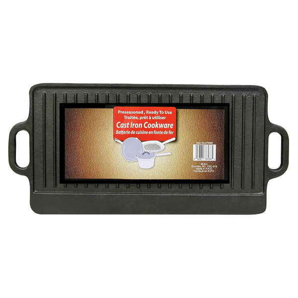 "9"" x 20.5"" Cast Iron Rectangular Ribbed Griddle"