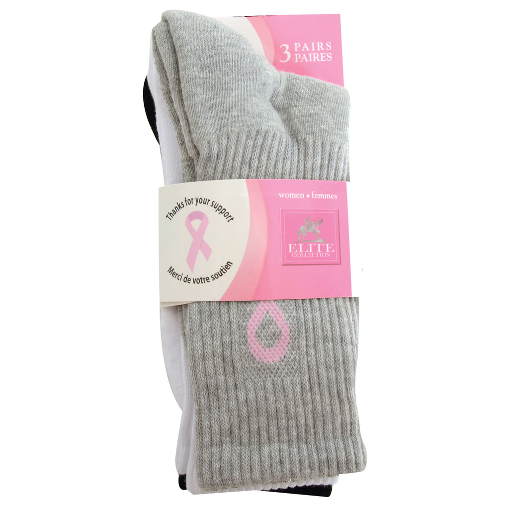 3PK Pink Ribbon Crew Sock