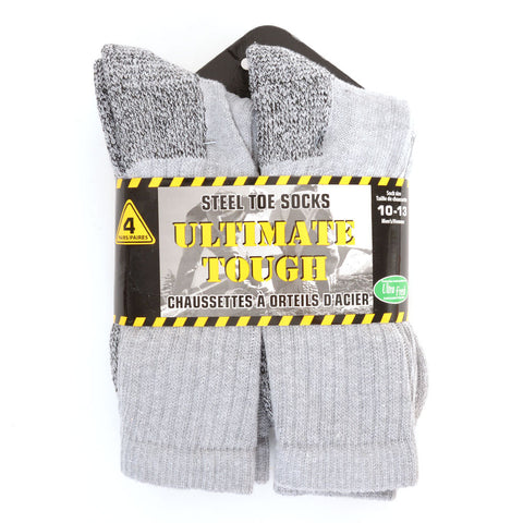 4PK Cotton Crew Work Socks 10-13
