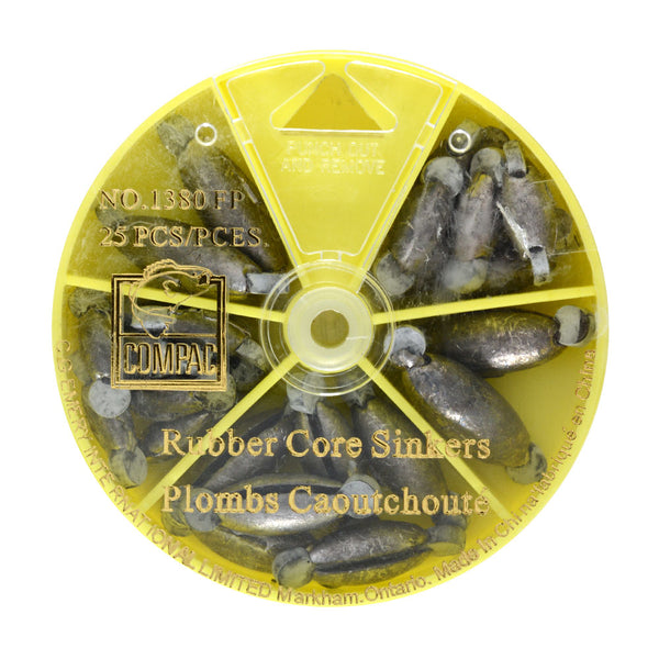 25pk Assorted Rubbercore Sinkers