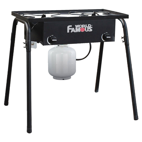 World Famous Dual Burner Propane Stove on Stand