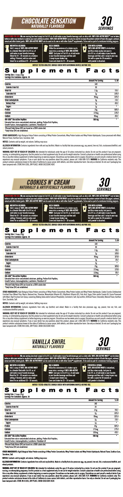 Supplement Facts - 100% BIO-ACTIVE WHEY™ PROTEIN POWDER