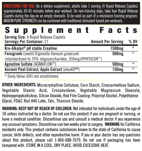 Supplement Facts - MAXON™ PURE STRENGTH