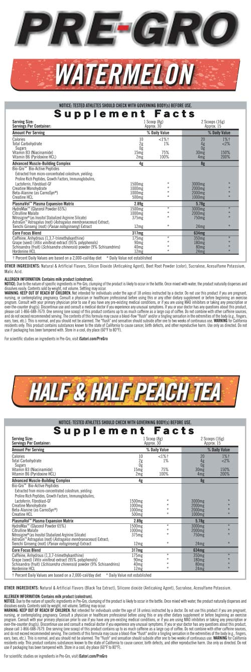 Supplement Facts - PRE-GRO™