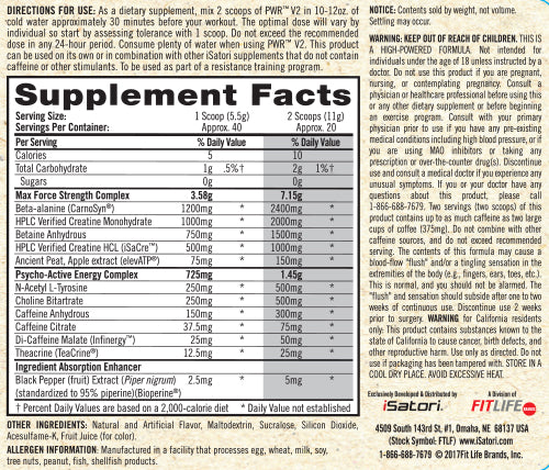 Supplement Facts - PWR™ V2