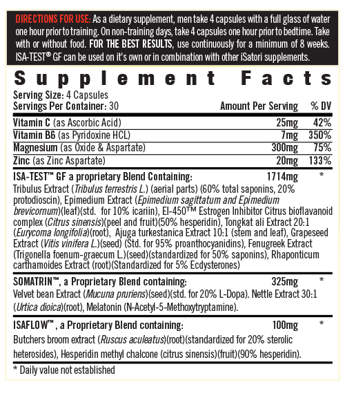 Supplement Facts - ISA-TEST<sup>®</sup> GF Classic Packaging