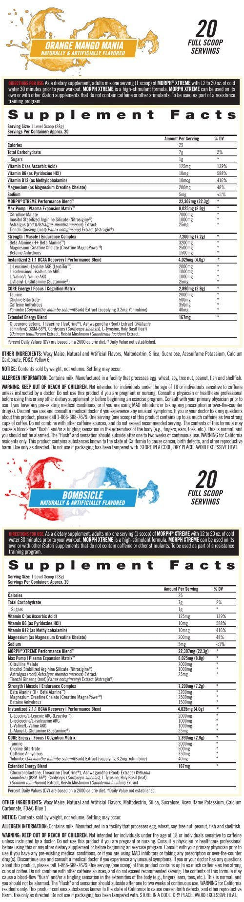 Supplement Facts - MORPH<sup>®</sup> XTREME