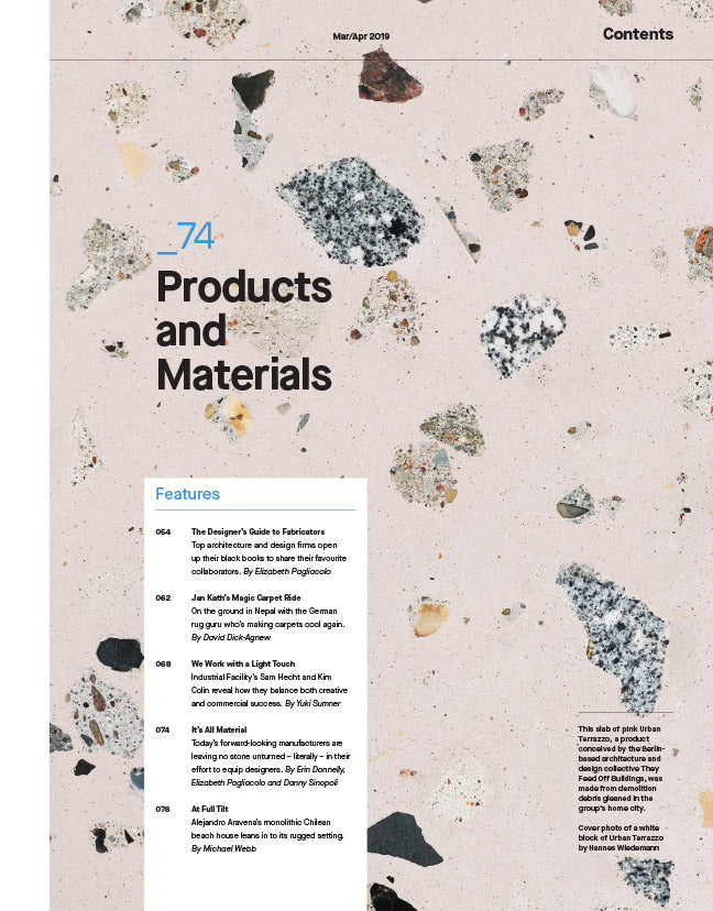The Products and Materials Issue, Mar/Apr 2019 - Contents 1