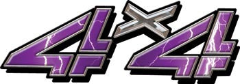 4x4 Decals Purple Lightning