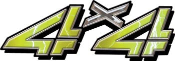 4x4 Decals Yellow Lightning